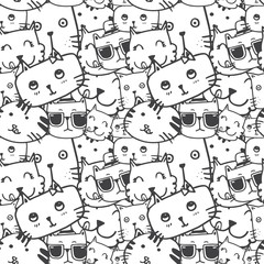 cute cat face doodle seamless pattern vector
