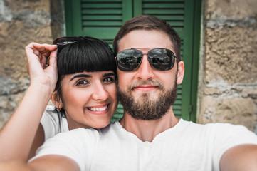 Couple makes a selfie