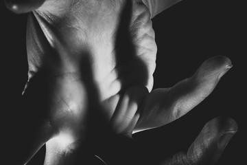 Human hands abstract pose black and white