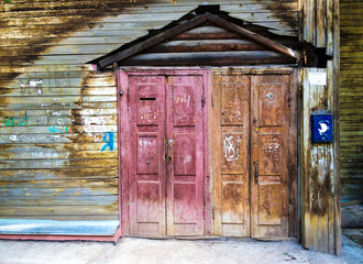 Doors of an old wooden house