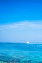 Sailing boat on the peaceful Adriatic Sea near the Croatian coast, Europe.