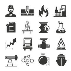 petroleum, oil and gas industry icons