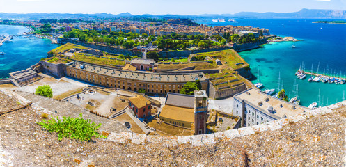 Wall Mural - Aerial view from new fortress on the old Corfu town, Greece