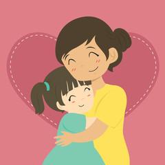 happy mother and her daughter hugging cartoon vector