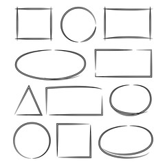 hand drawn oval, rectangle frames