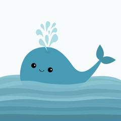 Blue whale and fountain. Sea ocean water with waves. Cute cartoon character with eyes, tail. Smiling face. Kids background. Baby animal collection. Flat design White background.