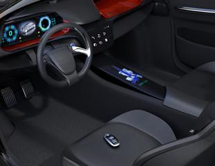 Smart car key on electric car's passenger seat. 3D rendering image.