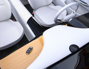 Smart car key on electric car's dashboard. 3D rendering image.