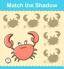 Kids entertaining puzzle game with a red crab