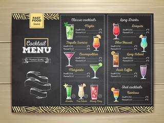 Vintage chalk drawing cocktail menu design. Corporate identity