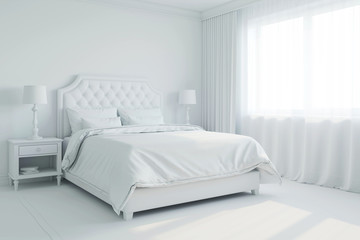 3d illustration of white bedroom without materials
