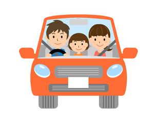自動車に乗る家族