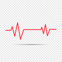 Heartbeat icon for medical apps, Heartbeat icon in flat style