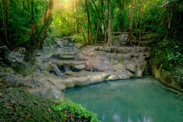 Beautiful deep forest pond in Erawan National Park, Kanchanaburi, Thailand