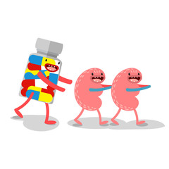 Vector. Cartoon human organs, which runs the medicine. The concept of health and medicine, a healthy lifestyle.