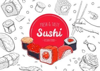 Asian Food poster. Vector hand drawn. Sushi