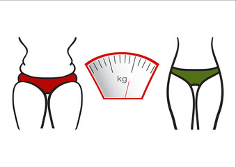 Hand drawn vector. Concept slimming symbol weight loss. Silhouette of sport girl with slender figure