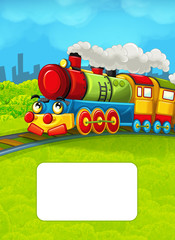 Cartoon train scene on the meadow with frame for text - illustration for children