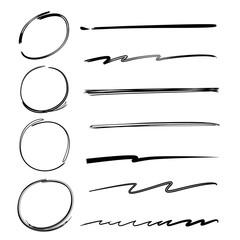 hand drawn marker elements, circles, underlines
