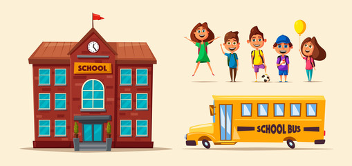 Back to school. Children on the yard. Cartoon vector illustration
