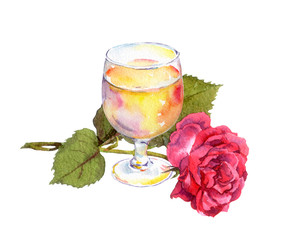 White wine glass, rose flower. Watercolor