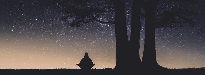 Human meditate under the big tree. Instagram stylization