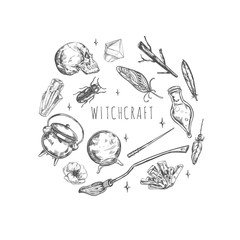 Hand drawn Magic set. Illustration wizardry, witchcraft symbols Isolated icons collection Cartoon sorcery concept elements