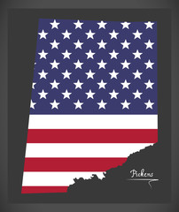 Pickens county map of Alabama USA with American national flag illustration