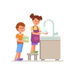 Vector illustration smiling couple child girl boy washing up cartoon flat style. Kid housework washing dishes isolated white background in bright colours