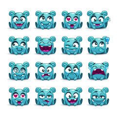 Little cute funny blue alien with different emotions