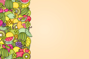 Fruits cartoon doodle design. Cute background concept for greeting card,  advertisement, banner, flyer, brochure. Hand drawn vector illustration.