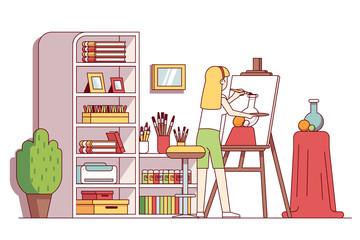 Art painter woman drawing still-life in workshop
