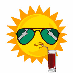 Sun wearing sunglasses and juice
