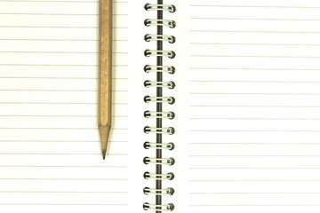 Notebook with pencil.