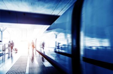 Fotobehang Treinstation Waiting stations and passengers