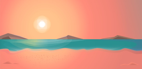 Evening time on the beach. Summer vector illustration, landscape..