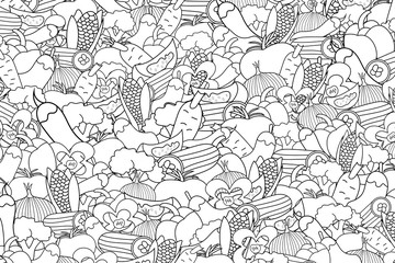 Vegetables cartoon doodle outline design. Cute black and white lineart background concept for greeting card,  advertisement, banner, flyer, brochure. Hand drawn vector illustration.