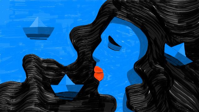 Mujer azul relaciones pareja