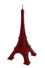 Red eiffel tower on white background, 3D rendering