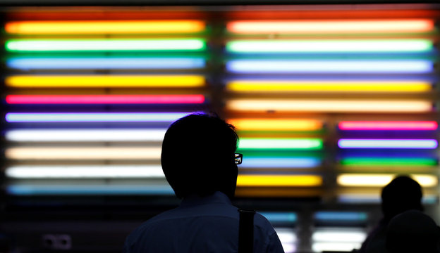 A pedestrian passes by fluorescent light tubes displayed outside a light bulb store in Tokyo's Akihabara district