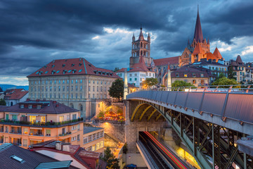 City of Lausanne. Cityscape image of downtown Lausanne, Switzerland during twilight blue hour. Wall mural