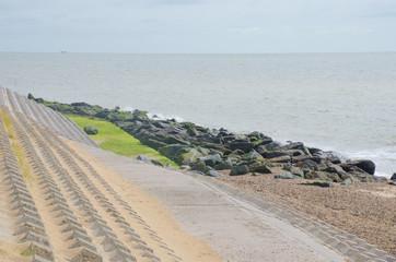 Coastal area with erosion defences