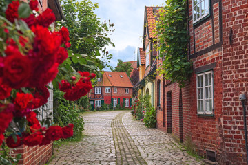 Beautiful cozy street of the old town of Luneburg in Germany. A street in a small German city, cozy apartment houses, lots of greenery, flowers, cobblestone pavement. Quiet and calm town.