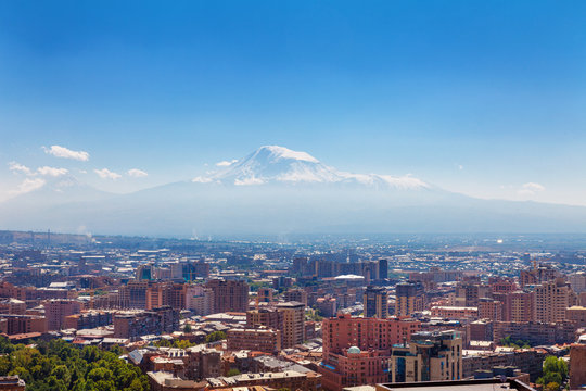 Yerevan, Armenia - 26 September, 2016: A view of Yerevan from Cascade complex in sunny day and view on Ararat