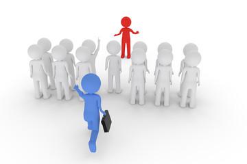 Zu spaet zum Meeting. Mehrere weisse 3D-Charaktere sind versammelt. Ein roter hält einen Vortrag. Ein blauer mit Aktentasche läuft auf die Gruppe zu.