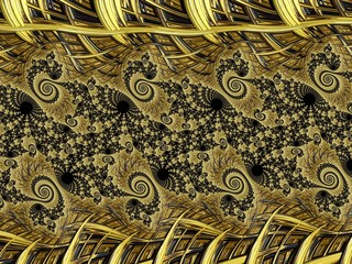Fractal created based on Gold and natural ornaments.