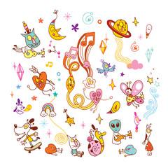fun cartoon characters group design elements set