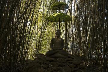 Buddha im Bambushain im Landschaftspark Dennenlohe in Bayern / Deutschland