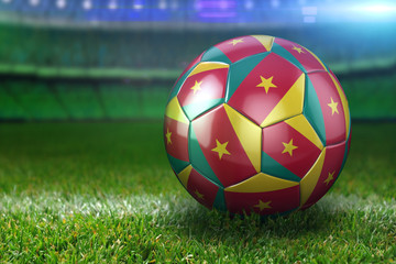 Cameroon Soccer Ball on Stadium Green Grasses at Night