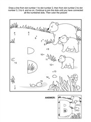 Educational connect the dots picture puzzle and coloring page - letter B and bears. Answer included.